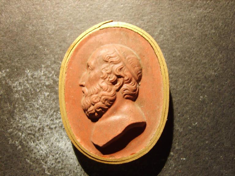Testa maschile di profilo (calco, opera isolata) - ambito italiano (prima metà sec. XIX)