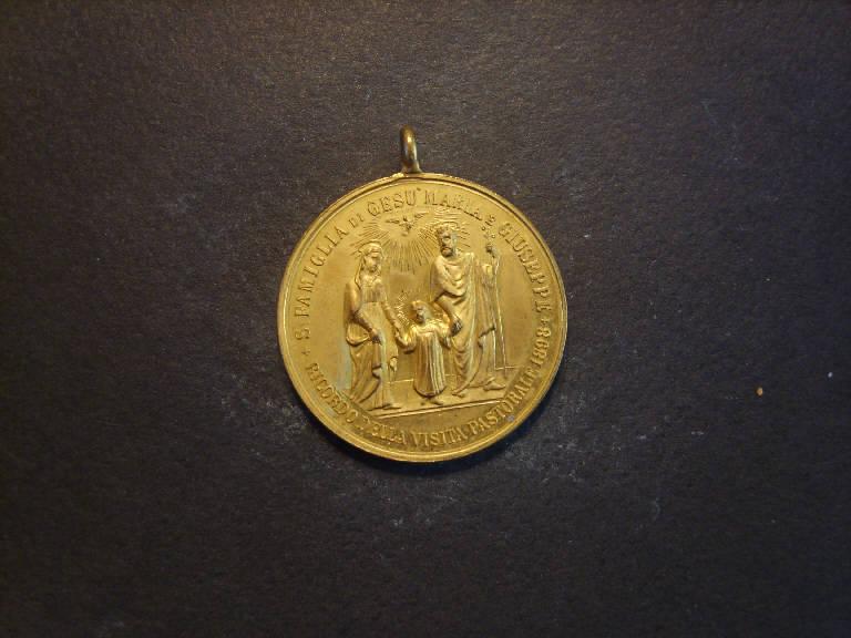 Medaglia commemorativa della visita pastorale del 1898, Sacra Famiglia in cammino/ San Carlo Borromeo (medaglia, opera isolata) - ambito italiano (sec. XIX)