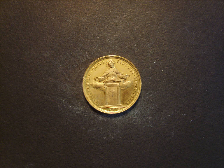 Apparizione di Cristo/ Ritratto di Leone XIII (medaglia, opera isolata) - ambito italiano (sec. XIX)
