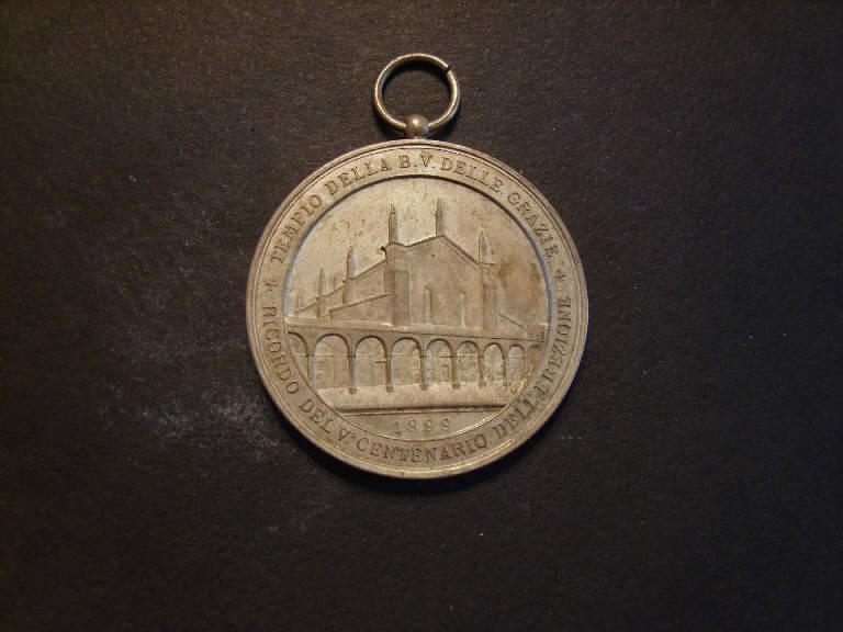 Madonna con Bambino/ Chiesa della Beata Vergine delle Grazie di Mantova (medaglia, opera isolata) - ambito italiano (sec. XIX)