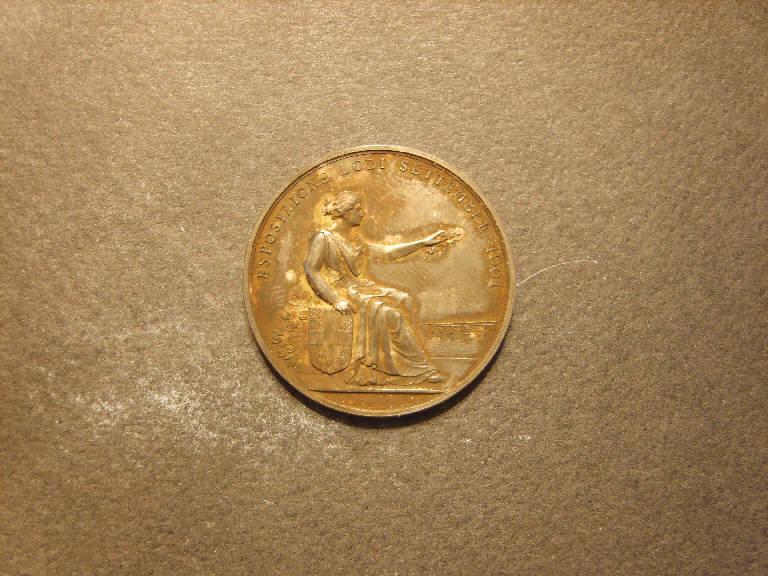 Allegoria dell'Arte che visita la città di Lodi (medaglia, opera isolata) - ambito italiano (sec. XX)