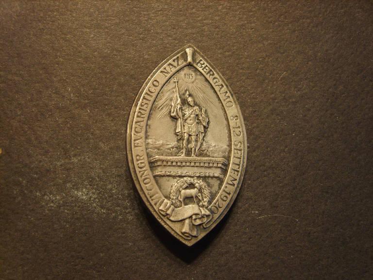 Sant'Alessandro e simboli eucaristici (spilla, opera isolata) - ambito italiano (sec. XX)