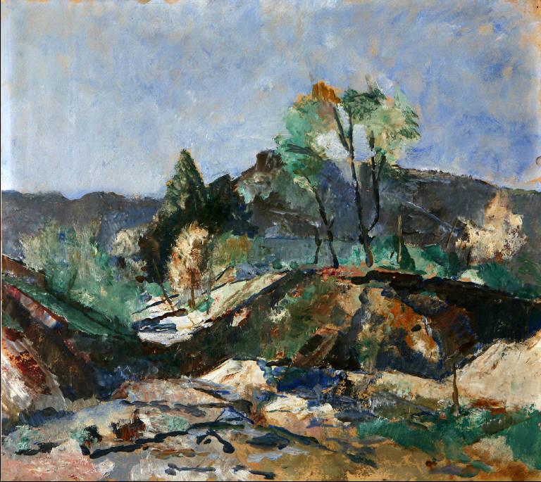 Vecchia cava - Erno (Solcio), Paesaggio con alberi e cava di pietre (dipinto, opera isolata) di Penagini, Siro (inizio sec. XX)
