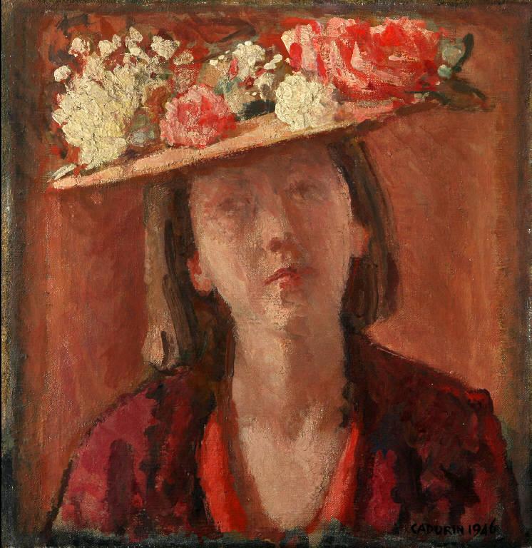 Il cappello di paglia, Ritratto di giovane donna con cappello do paglia (dipinto, opera isolata) di Cadorin, Guido (prima metà sec. XX)