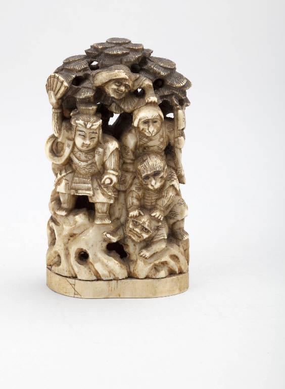 Samurai, scimmie e demoni (statuetta) - manifattura giapponese (secc. XIX/ XX)