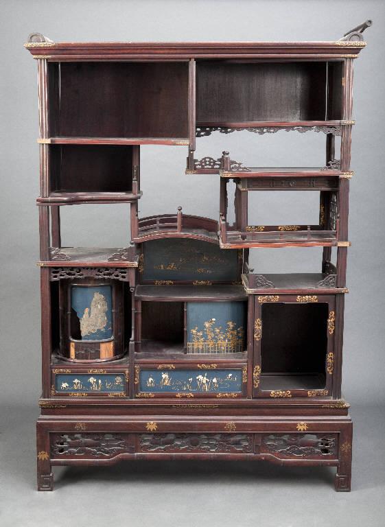 Motivi decorativi vegetali (scaffale) - manifattura giapponese (ultimo quarto sec. XIX)