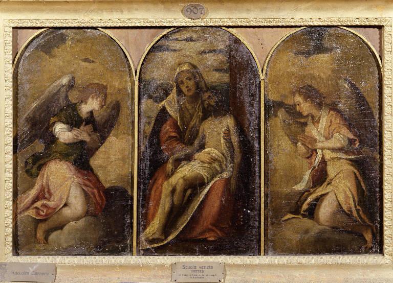 Pietà e Angeli adoranti (trittico dipinto, insieme) - ambito vicentino (sec. XVI)
