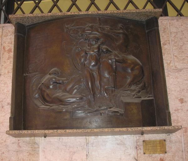 Monumento ai postelegrafonici, allegoria del soldato come eroe antico (monumento ai caduti - a lapide) di Magnavacca Ubaldo (sec. XX)