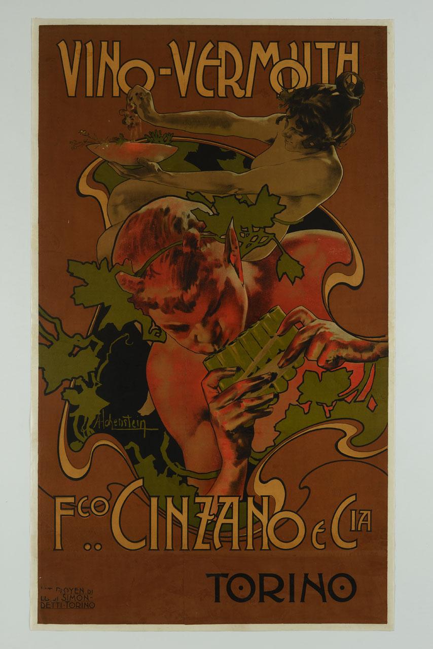 satiro suona la siringa e una donna spreme dell'uva in un piatto (manifesto, stampa composita) di Hohenstein Adolf (secc. XIX.XX)