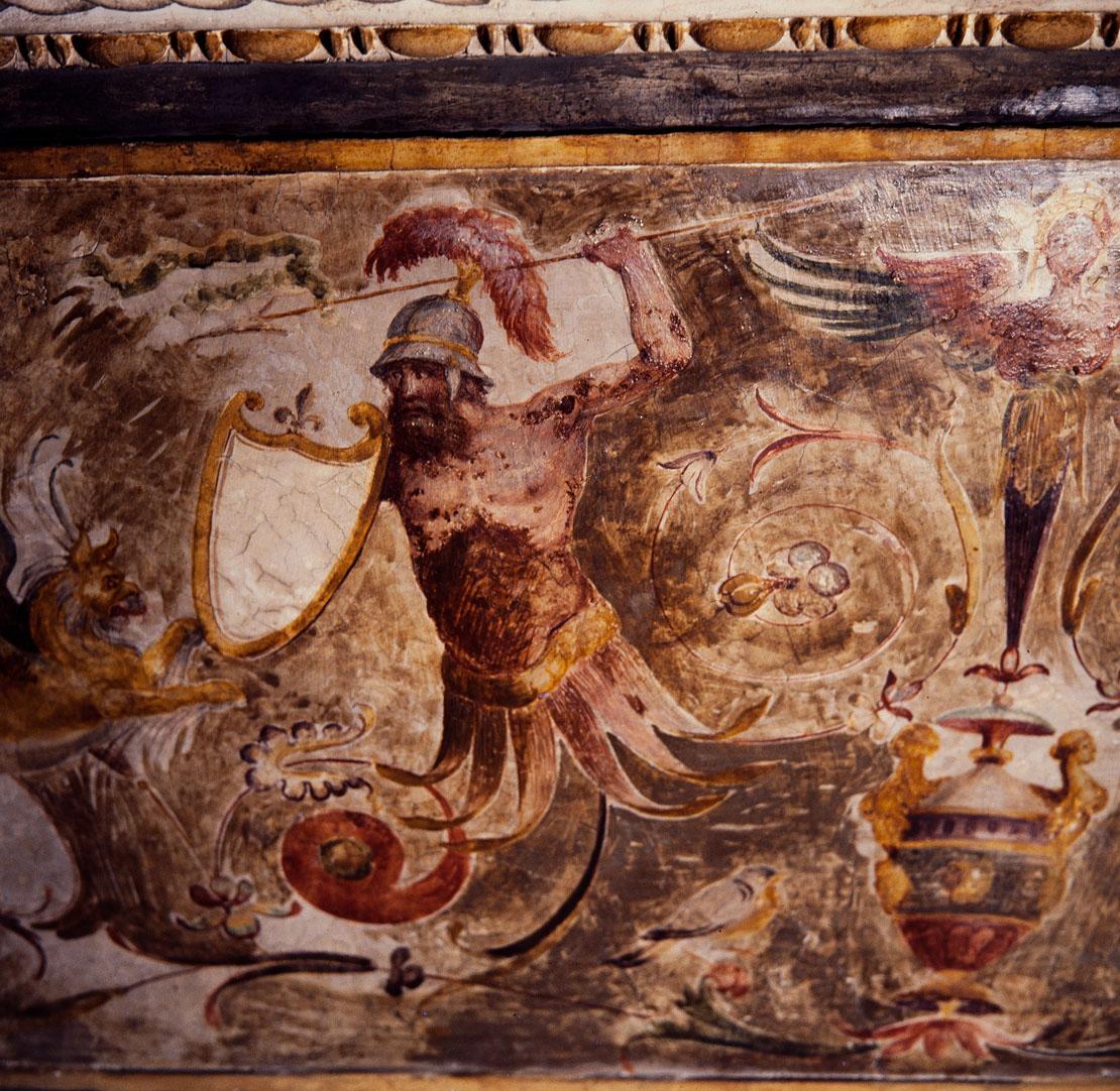 Storie di Roma e decorazioni a grottesche (decorazione plastico-pittorica, complesso decorativo) di Luzio Romano (e aiuti) (sec. XVI)