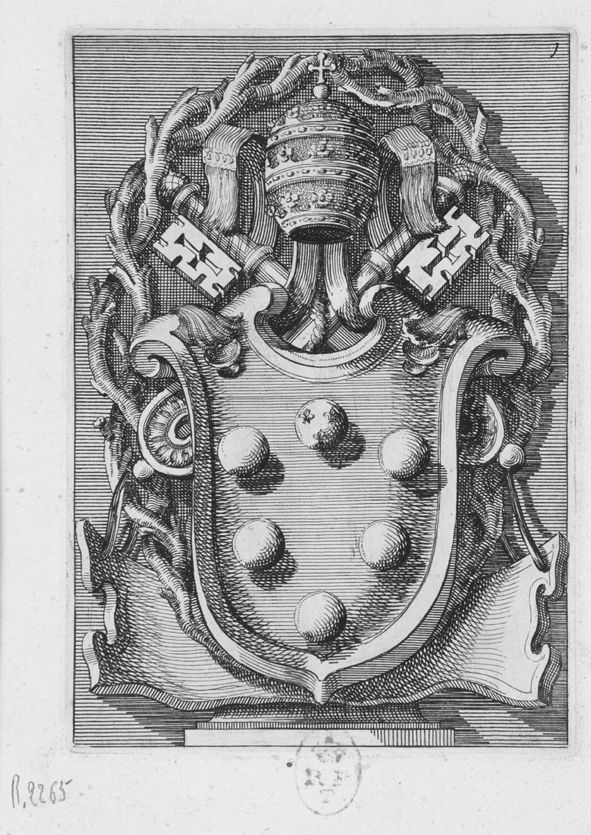 stemma papale di Leone X (stampa, serie) di Juvarra Filippo, Bramante Donato (sec. XVIII)