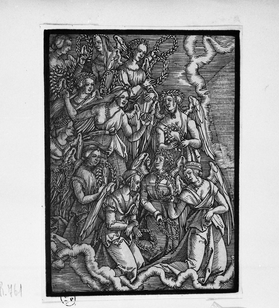 Gloria di angeli reggicorona, angeli reggicorona (stampa smarginata) - ambito Europa centro-settentrionale (sec. XVI, prima metà)
