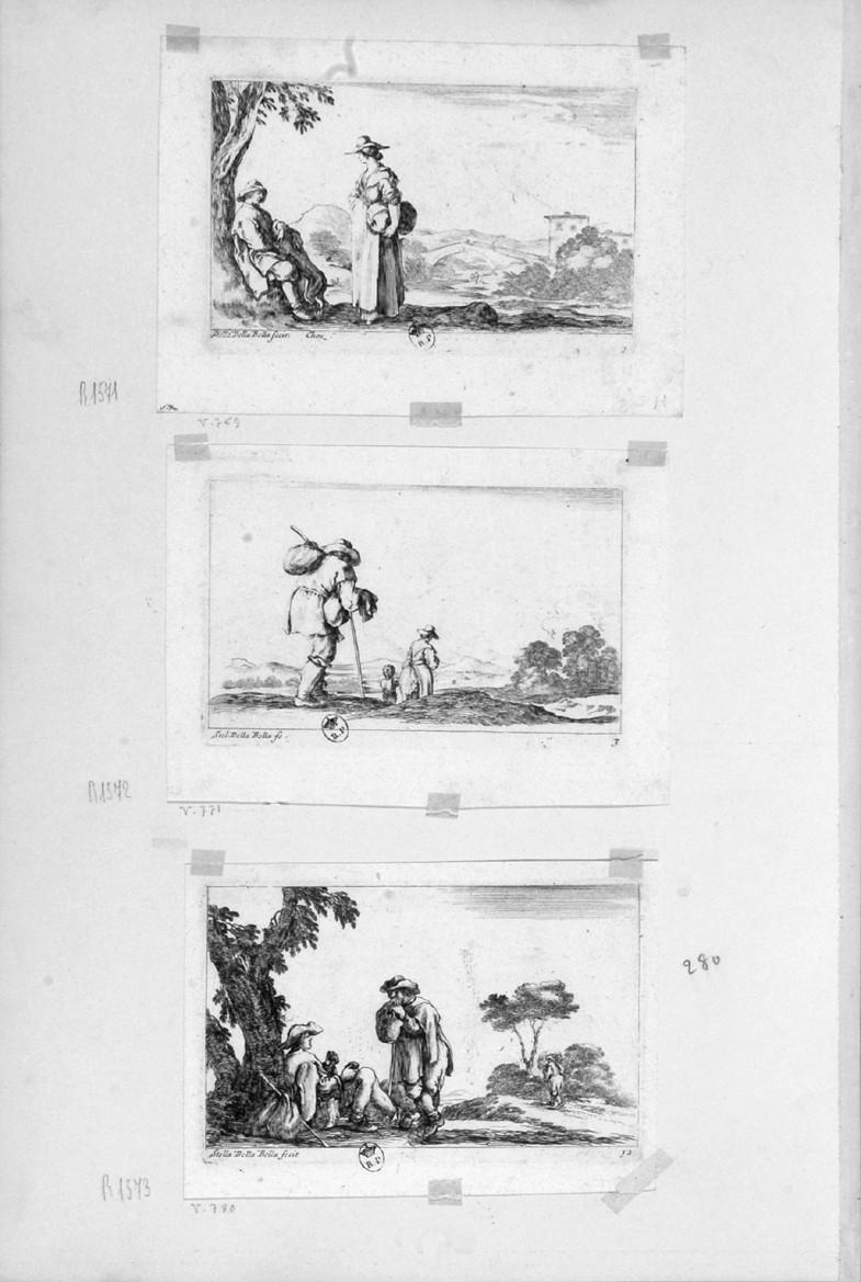 scena campestre con figure (stampa, serie) di Della Bella Stefano (sec. XVII)
