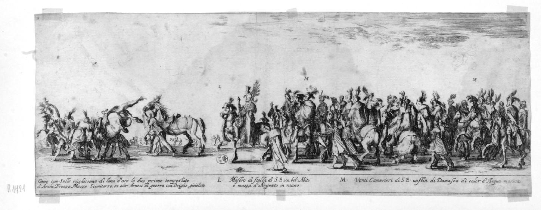 corteo di cavalieri polacchi (stampa smarginata, serie) di Della Bella Stefano (sec. XVII)