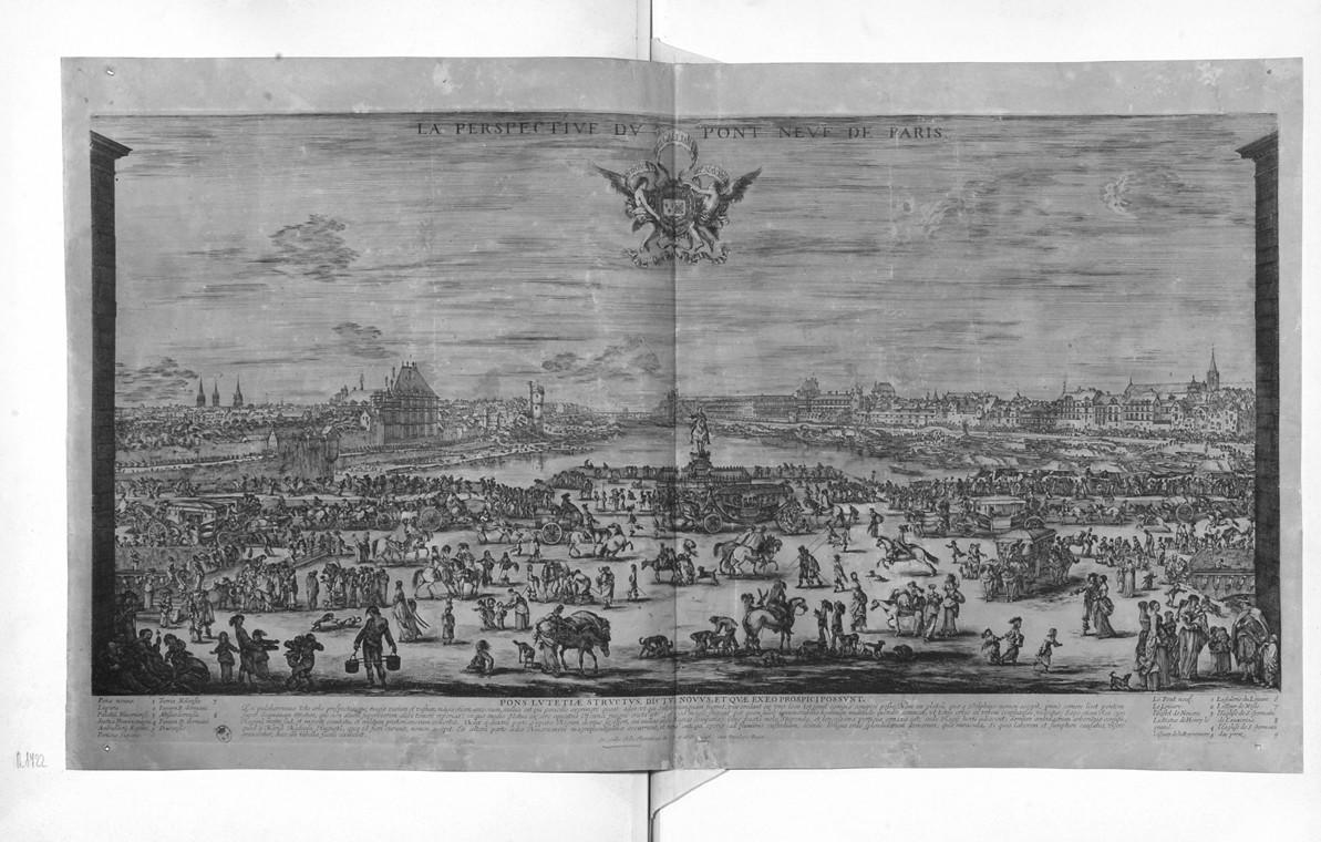 veduta del Pont Neuf a Parigi (stampa) di Della Bella Stefano (sec. XVII)