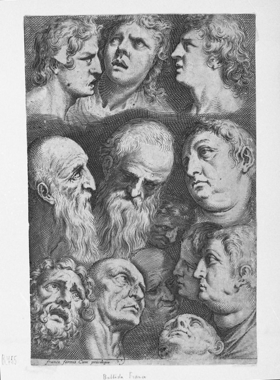 teste maschili (stampa smarginata) di Franco Battista, detto il Semolei (sec. XVI)