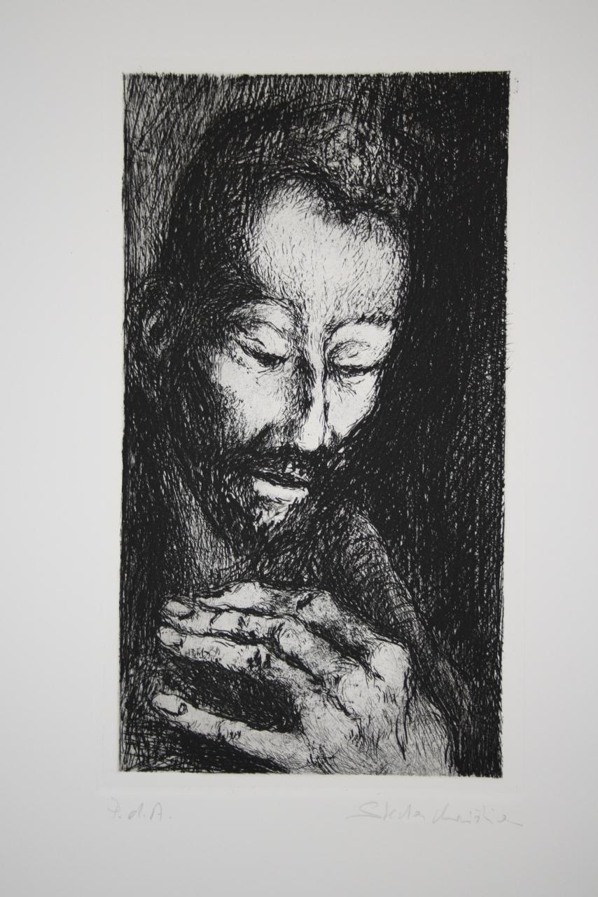 testa d'uomo con barba (stampa) di Stecher Christian (sec. XX)