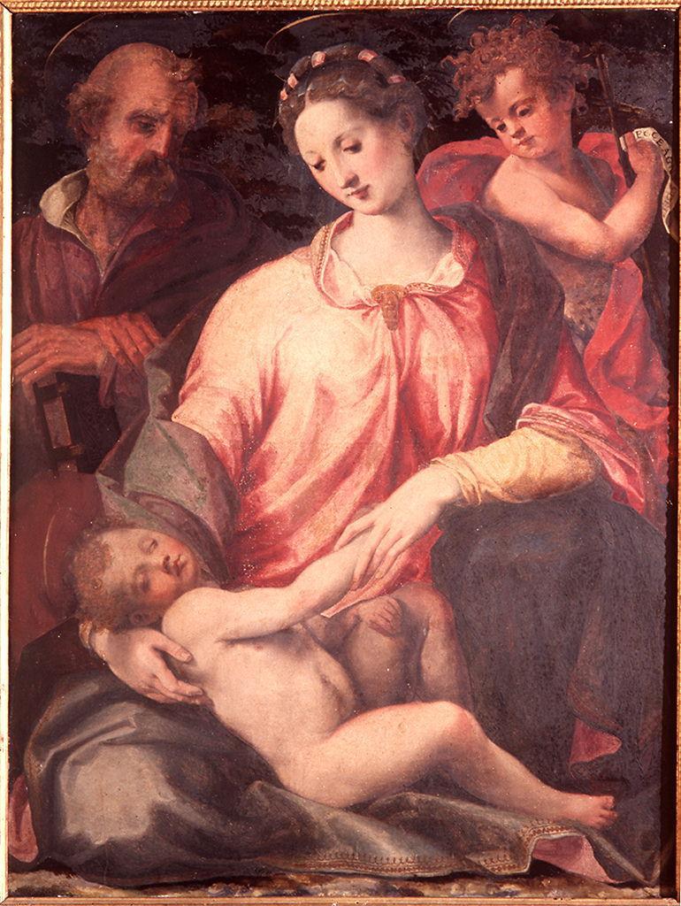 Sacra Famiglia con San Giovanni Battista bambino (dipinto) di Del Brina Francesco (seconda metà sec. XVI)