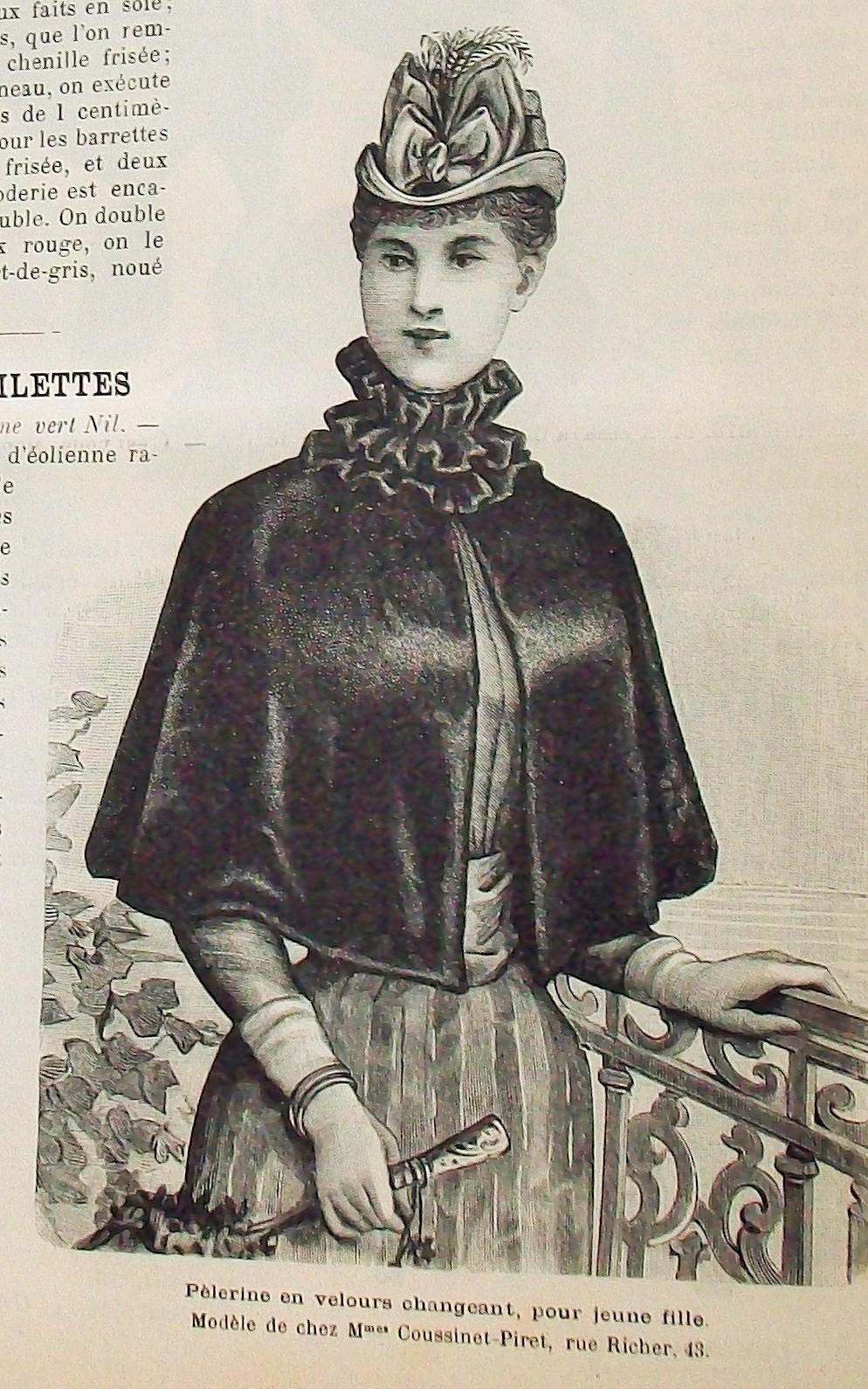 mantellina, da passeggio, femminile - ambito italiano (fine sec. XIX)