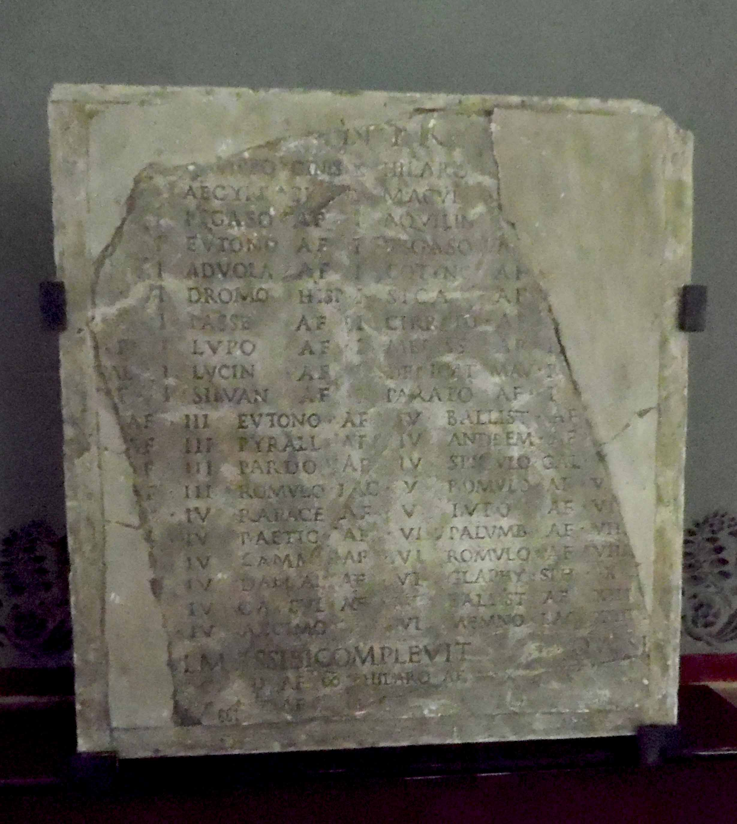 Frammento di elogio in marmo (Epigrafe) - ambito romano (Eta' di Adriano)