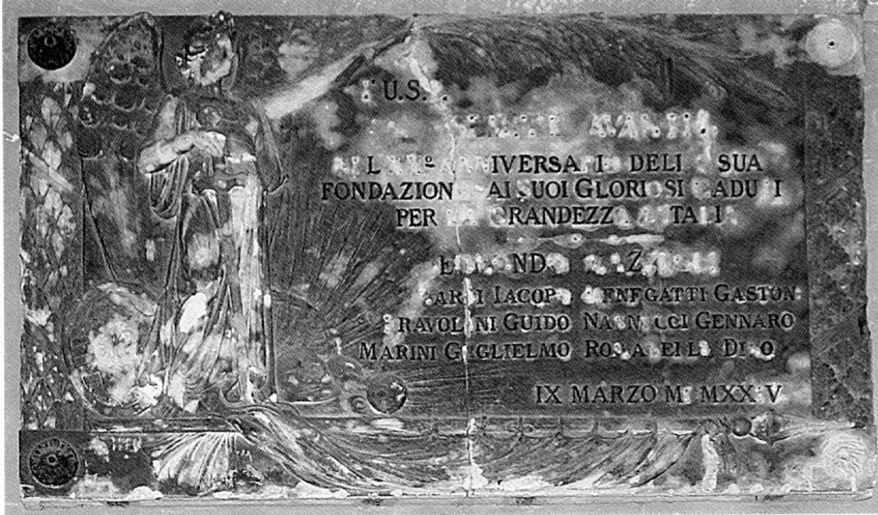allegoria della Vittoria come donna armata (lapide commemorativa) di Petrilli Aristide (sec. XX)