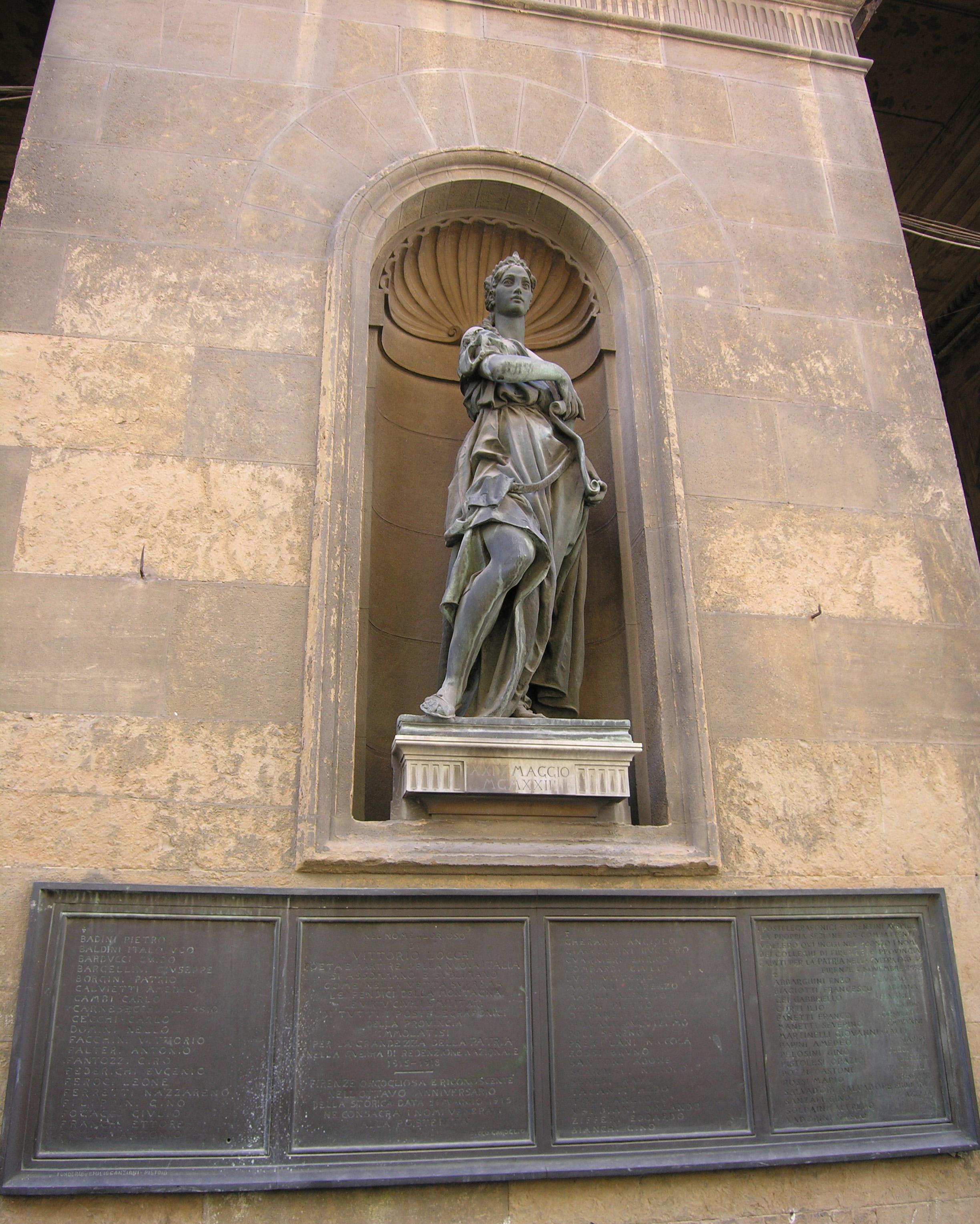 allegoria della Patria (monumento ai caduti - a edicola) di Passaglia Giulio (sec. XX)