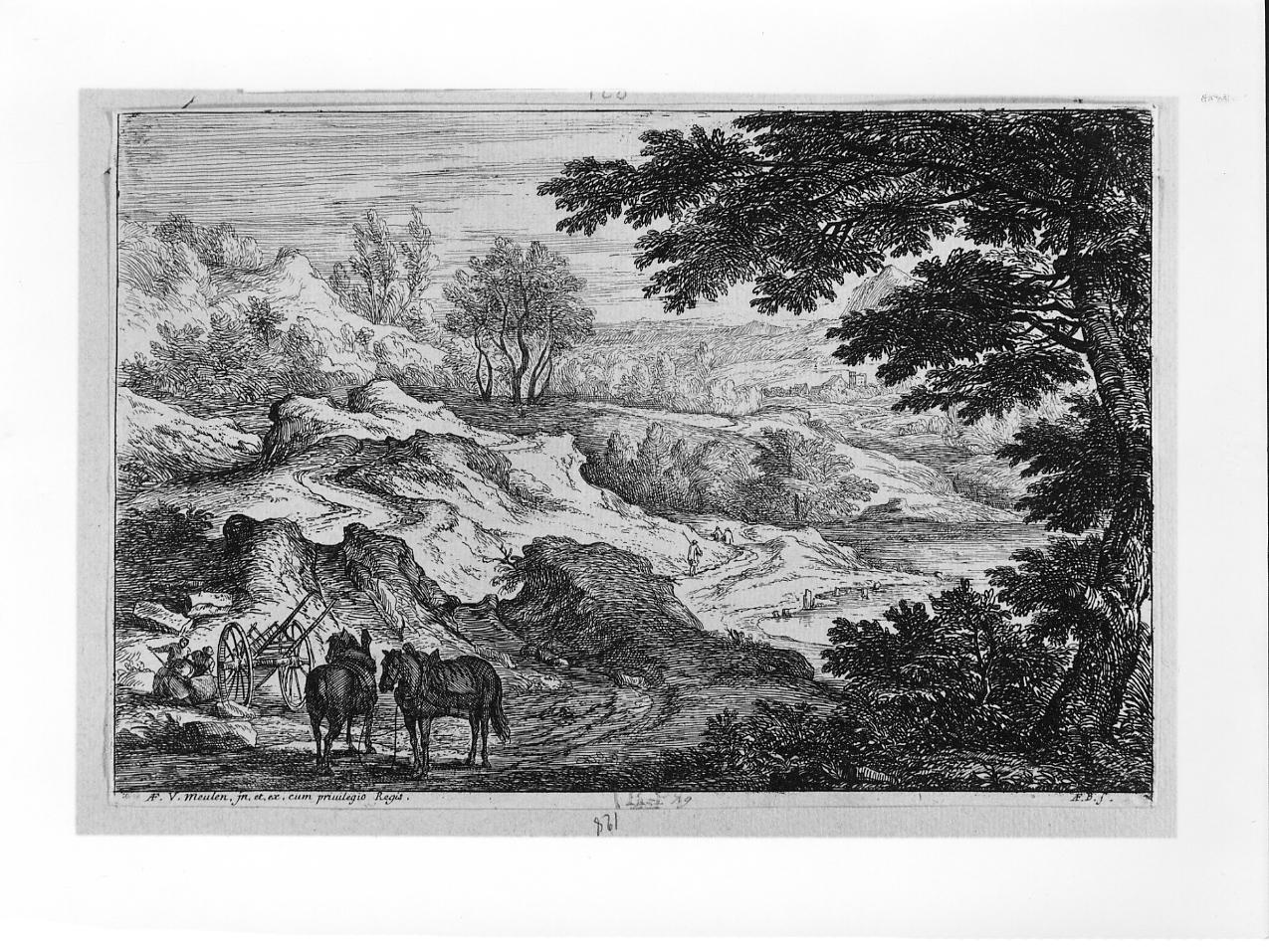 Paese con carro e cavalli, paesaggio con figure e animali (stampa) di Van der Meulen Adam Frans (sec. XVII, seconda metà)
