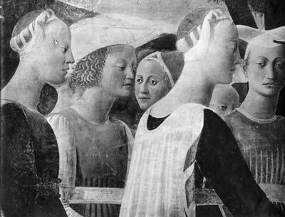 Arezzo - Chiesa di San Francesco - Affreschi cappella Bacci - Fascia mediana destra - La regina di Saba adora la croce (negativo) di Piero della Francesca, Perazzo, N (primo quarto XX)