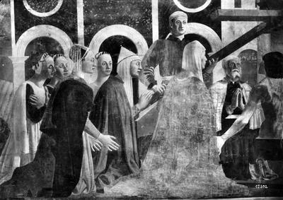 Arezzo - Chiesa di San Francesco - Affreschi cappella Bacci - Fascia mediana sinistra - Verificazione della Santa Croce (negativo) di Piero della Francesca, Perazzo N (primo quarto XX)