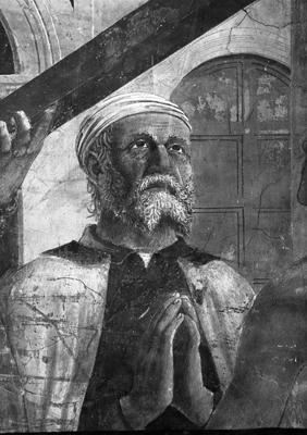 Arezzo - Chiesa di San Francesco - Affreschi cappella Bacci - Fascia mediana sinistra - Verificazione della croce (negativo) di Piero della Francesca, Perazzo N (primo quarto XX)