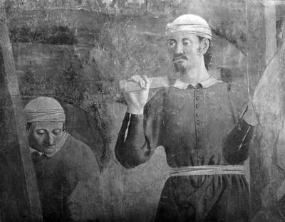 Arezzo - Chiesa di San Francesco - Affreschi Cappella Bacci - Fascia mediana sinistra -Ritrovamento della Vera Croce (negativo) di Piero della Francesca, Perazzo N (primo quarto XX)