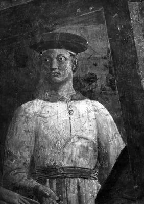 Arezzo - Chiesa di San Francesco - Affreschi Cappella Bacci - Fascia mediana sinistra -Ritrovamento della Vera Croce (positivo) di Piero della Francesca, Perazzo N (primo quarto XX)