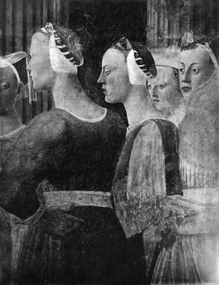 Arezzo - Chiesa di San Francesco - Affreschi Cappella Bacci - Fascia mediana destra - incontro tra re Salomone e la Regina di Saba (negativo) di Piero della Francesca, Perazzo N (primo quarto XX)