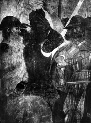 Arezzo - Chiesa di San Francesco - Affreschi cappella Bacci - Fascia inferiore sinistra - Battaglia di Eraclio contro Cosroe (negativo) di Piero della Francesca, Perazzo N (primo quarto XX)