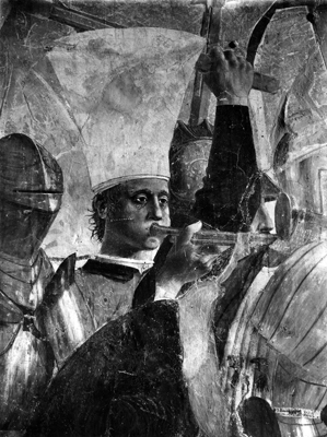 Arezzo - Chiesa di San Francesco - Affreschi Cappella Bacci - Fascia inferiore sinistra - Battaglia di Eraclio contro Cosroe - Trombettiere (negativo) di Piero della Francesca, Perazzo N (primo quarto XX)