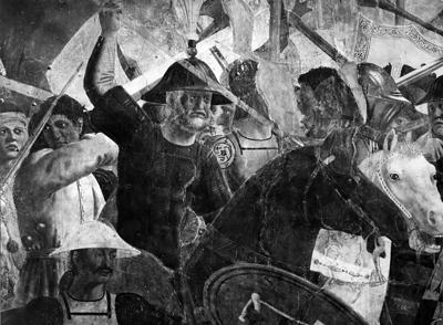 Arezzo - Chiesa di San Francesco - Affreschi Cappella Bacci - Fascia inferiore sinistra - Battaglia di Eraclio contro Cosroe - soldato barbuto a cavallo (negativo) di Piero della Francesca, Perazzo N (primo quarto XX)