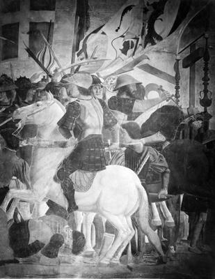 Arezzo - Chiesa di San Francesco - Affreschi Cappella Bacci - Fascia inferiore sinistra - Battaglia di Eraclio contro Cosroe - soldato sul cavallo bianco (negativo) di Piero della Francesca, Perazzo N (primo quarto XX)