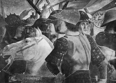 Arezzo - Chiesa di San Francesco - Affreschi Cappella Bacci - Fascia inferiore sinistra - Battaglia di Eraclio contro Cosroe - soldati e cavalli (negativo) di Piero della Francesca, Perazzo N (primo quarto XX)