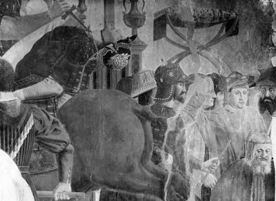 Arezzo - Chiesa di San Francesco - Affreschi Cappella Bacci - Fascia inferiore sinistra - Battaglia di Eraclio contro Cosroe - decapitazione di Cosroe (negativo) di Piero della Francesca, Perazzo N (primo quarto XX)