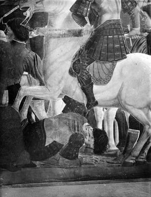 Arezzo - Chiesa di San Francesco - Affreschi Cappella Bacci - Fascia inferiore sinistra - Battaglia di Eraclio contro Cosroe - scena di battaglia (negativo) di Piero della Francesca, Perazzo N (primo quarto XX)