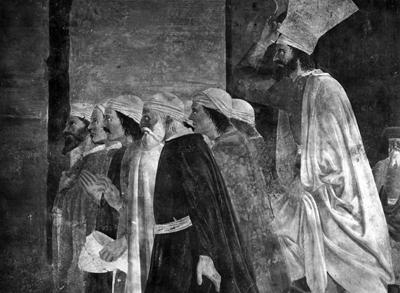 Arezzo - Chiesa di San Francesco - Affreschi Cappella Bacci - fascia superiore sinistra - Consegna della Croce a Gerusalemme - abitanti di Gerusalemme in adorazione (negativo) di Piero della Francesca, Perazzo N (primo quarto XX)