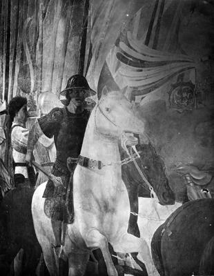 Arezzo - Chiesa di San Francesco - Affreschi Cappella Bacci - Fascia inferiore destra - Battaglia di Costantino contro Massenzio - (negativo) di Piero della Francesca, Perazzo N (primo quarto XX)