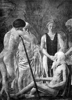 Arezzo - Chiesa di San Francesco - Affreschi Cappella Bacci - Fascia superiore destra - Morte d'Adamo (negativo) di Piero della Francesca, Perazzo N (primo quarto XX)