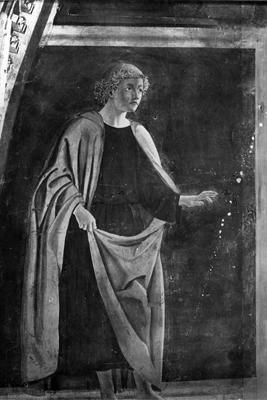 Arezzo - Chiesa di San Francesco - Affreschi Cappella Bacci - Fascia superiore, lato sinistro - Profeta (negativo) di Piero della Francesca, Perazzo N (primo quarto XX)