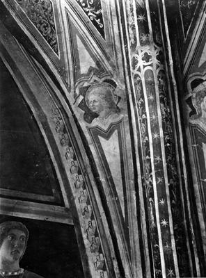 Arezzo - Chiesa di San Francesco - Affreschi Cappella Bacci - lato destro, vela sopra il profeta - Dettaglio della decorazione (negativo) di Piero della Francesca, Perazzo N (primo quarto XX)