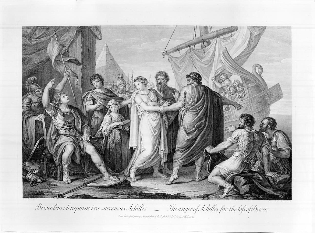 L'ira di Achille per la sottrazione di Briseide (stampa, elemento d'insieme) di Cunego Domenico, Hamilton Gavin (sec. XVIII)