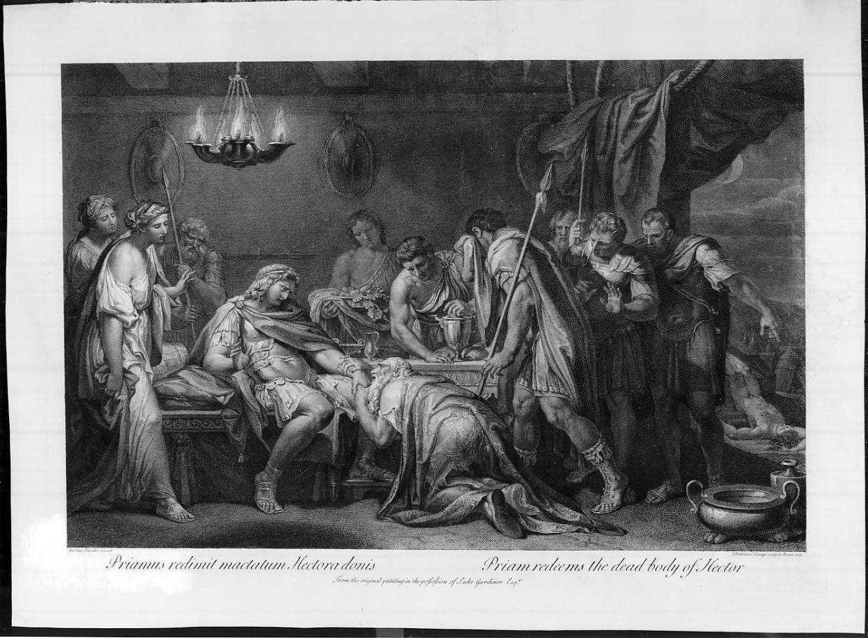 Priamo riscatta il cadavere di Ettore (stampa, elemento d'insieme) di Cunego Domenico, Hamilton Gavin (sec. XVIII)