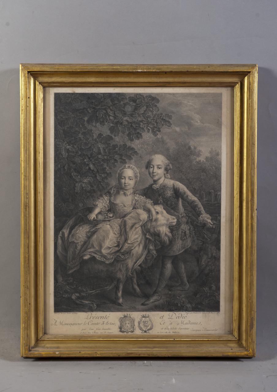 ritratto di Carlo Filippo di Borbone e di Maria Clotilde di Borbone su una capra (stampa) di Drouais François Hubert, Beauvarlet Jacques Firmin (XVIII)
