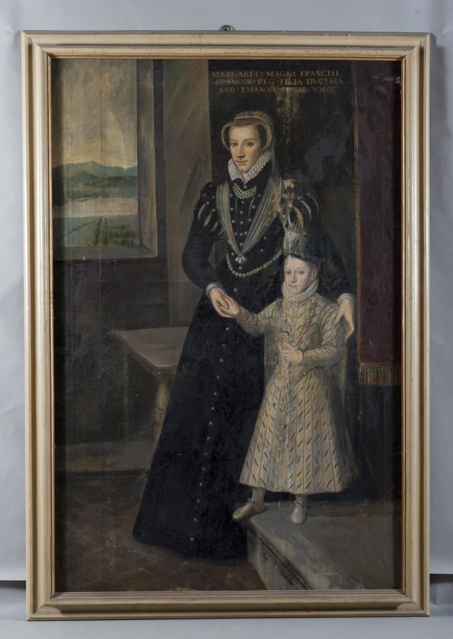 Ritratto di Margherita di Valois con Carlo Emanuele I di Savoia (dipinto, opera isolata) di Caracca Giovanni (terzo quarto sec. XVI)