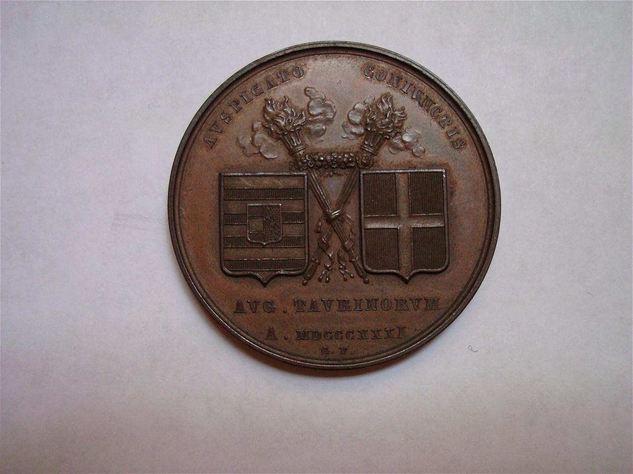 ritratti di Ferdinando e Marianna Pia d'Ungheria (medaglia) di Ferraris Giuseppe (sec. XIX)